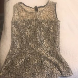 XS Gold & Black Lace Peplum Top Perfect for NYE